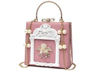 Wholesale Embroidery Baroque - Flap Baroque Style Handbag Single Shoulder Bag Angel Relief Box Retro Pearl Chain Sweet Ladies Lock