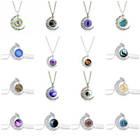 Wholesale Wolf Pendant Necklace Women - Fashion Mix Style Tree of Life Eyes wolf angle Etc Necklaces Moon Gemstone Women Pendant Necklaces Hollow Carved Jewelry With Silver Chain