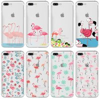 Wholesale Cover Silicon For Mobile - Colorful Flamingo Phone Case Silicone Cover For iPhone 5 6 6+ 6 7 ransparent Soft Silicon Mobile Phone Bag Coque Capa Cover