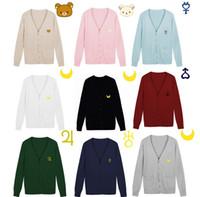 uniformes femeninos de marinero al por mayor-Al por mayor- S - XXL Sailor Moon suéteres mujeres llevan bordado JK cardigan de tejer uniforme hembra con cuello en V sólido estudiante suéter envío gratis