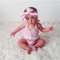 tutú grande rosado al por mayor-3 pc set ins trajes niñas verano nuevas muchachas pink romper encaje rayado mameluco vestido infantil torta pantalones cortos bebé grande arco diadema