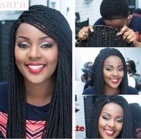 Wholesale Jumbo Size - New Style Twist Braided Lace Front Wigs #1 Micro Jumbo Braided Wigs Synthetic Lace Ffront Wig For Fashion Black African Women