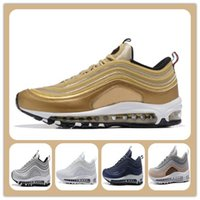 Wholesale Bullets Light - Max 97 Og Undftd Undefeated Triple white OG Metallic Gold Silver Bullet Running Shoes with Box Men and Women Casual Shoes Free shippment