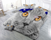 gato adulto set venda por atacado-Desenhos personalizados podem ser personalizados 3D Spunky Gato Cinza Impressão Digital de Algodão De Cetim 4-Piece Conjuntos de Capa de Edredão Conjuntos de Cama