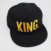 Wholesale Garden Fine - KING QUEEN Gold Letters Snapback Baseball Caps Couple Matching Fine Finished Embroideried Hat