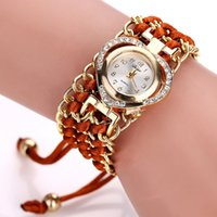 Wholesale Red Leather Wristband Bracelet - Leather wristwatches Watch Montre Clock Lady Bracelet Dress Luxury Design Wristbands Girl Casual Steel Quartz heart Watches for Women
