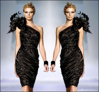 Zuhair Murad Little Black Formal Cocktail Dresses 2017 One Shoulder Flower Feathers Prom Party Gown Вышитый бисером Ruffle Dress Sexy Club Дешевые