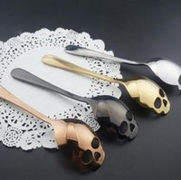 Wholesale Candy Skulls Wholesale - Skull Shape Spoon Stainless Coffee Spoon Dessert Spoons Food Grade Stainless Ice Cream Candy Tea Tableware Kitchenware 4 color KKA1565