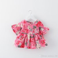 Wholesale Cute Dress Korean Style - 4 color 2017 hot sell Korean style new arrivals Girls short sleeved cotton Dress cute peony printting dress free shipping