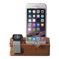 bambus-ladegerät großhandel-Bambus Holz Ladegerät Halter für eine Uhr 38 42mm Smartphone DHL Freies Verschiffen Umwelt Materialien
