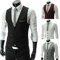 Wholesale Wholesale Men Vests - Wholesale- New Design Men's Formal Business Slim Fit V-neck Solid Single-Breasted Vest Suit Waistcoat