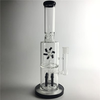 Wholesale 15 inch bongs resale online - New Inch BIG Funny Glass Bong with Two Layers Filter Rocket Reflow Fan Thick Recyler Heady Glass Beaker Bong Smoking Water bongs