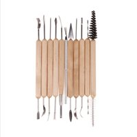 Wholesale Wholesale Pottery Clay - 11 Pcs Set Clay Pottery Tools Sculpture Plasticine Carving Tools for Brushing Scraping Cleaning Wood and Stainless steel DH073