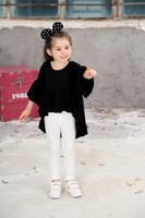 Wholesale Girls Long Sleeve Ruffle Tee - 2017 Baby Girls Tshirt white red black Flare Sleeve Ruffles Design Children Clothing Summer Casual T-shirt tees Kids Girl Clothes