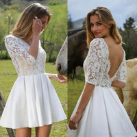Wholesale Flower Marie - Marie Laporte Lace Stain Knee-length Beach Wedding Dresses with Sleeves 2017 Modest Backless Country Boho Cowboy Bridal Cheap Dresses