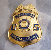 Wholesale THE UNITED STATES US COAST GUARD SPECIAL AGENT BADGE Pure Copper Brooch Big Badge cm