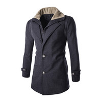 Wholesale Mailing Jacket - Wholesale- Fashion Men Slim Blends Lamb Wool Double Placket Stitching Mail Jackets Fitted Long Sections Woolen Coat 2016 Brand Clothing F61