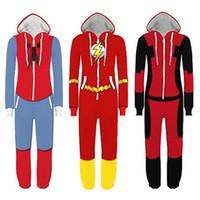 Wholesale Super Man Rompers - Superhero Cosplay Costume Spiderman Homecoming Pajamas Flash Man Jumpsuit Pyjamas Sleepwear Halloween Party Outfit Rompers