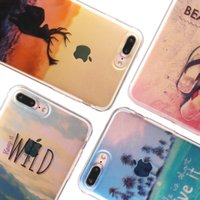 Wholesale Sunset Cover For Iphone - For iPhone 7 plus Semi Transparent Soft TPU Case Sunset Snow Mountain City Ocean Patterns Cover for iPhone 6s 6 plus Opp