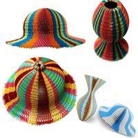 Wholesale Fold Paper Hat - 100PCS Magic Vase Paper Hats Handmade Folding Hat for Party Decorations Funny Paper Caps Travel Sun Hats Colorful