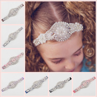 Wholesale Hair Band Diamond Pearls - New Baby Girls Wedding Headbands Infant Kids Toddler Diamond Elastic Headband Handmade Pearl Hair Bands Children Accessories Headwear KHA222