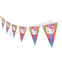 Wholesale theme kitty - Wholesale- 12flags Cartoon colorful Pattern Hello Kitty Theme Party Birthday Party Decoration Banner For Children kids Party Supplies