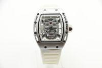 pulseiras de borracha diamantes venda por atacado-Relógio dos homens 42 MM Esqueleto de Diamante Relógio De Quartzo Crânio Tourbillon tonneau Branco Caso Pulseira De Borracha De Vidro de Volta Assista NO.5