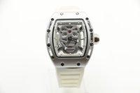 pulsera trasera al por mayor-Reloj para hombre 42MM Diamond Skeleton Reloj de cuarzo Skull Tourbillon tonneau Caja blanca Rubber Pulsera para reloj de cristal NO.5