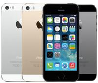 elma telefon kilidini açma toptan satış-Orijinal Apple iPhone 5 S Hiçbir Dokunmatik kimlik 64 GB 32 GB 16 GB iOS 8 4.0 inç Orijinal Ekran Yenilenmiş Unlocked Cep Telefonu
