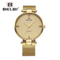 Wholesale Cheap Thin Watches Men - Fashion Simple Design Men Watches Ultra-thin Steel Watch Strap for Male Waterproof Quartz PC21 Gold Men Cheap Watches Brand Watch BELBI