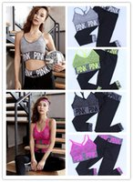 Wholesale Stripped Vest - VS Pink Letter Tracksuit Sport Fitness Long Pants+vest Bra 2pcs Set Bandlet Stripped Bra and Leggings Running Yoga Gym Suit Sportswears M L