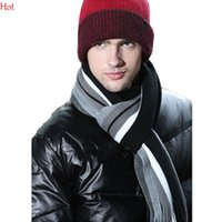 Wholesale Male Stripe Scarf - Hot Winter Design Scarf Men Striped Cotton Scarves Female Business Male Shawl Wrap Knit Cashmere Tassels Stripes Scarf Red Black White 19427