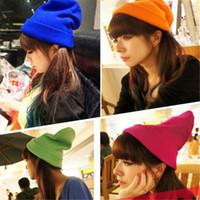 sombreros de punto de neón al por mayor-Hip Hop Beanie Moda Mujer Knit Neon Winter Hat para hombres Beanie Girls Casual Cap Warm Winter Hats Hombres Warm Winter Hats DHL