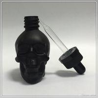 Wholesale Glass Bottles For Liquid Cosmetics - good quality 30ml 1oz empty skull shaped glass dropper bottle for e liquid cosmetic bottles free shipping