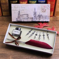 Wholesale Stainless Steel Fountain Pen Nib - Wholesale-FEATTY Vintage Feather Quill Pen set Calligraphy Writing Pen With 6 PCS Nibs,Ballpoing Pen Gift Set
