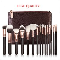 Wholesale Make Up Brush Set 15pcs - BRAND Makeup Brush kit ROSE GOLDEN Professional Luxury Set 15pcs Face and Eyeshadow Make Up Tools Kit BRAND Powder Blending brushes FREE DHL
