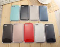 Wholesale Gel Mobile Phone Covers - Solid back cover protective soft shell For Iphone7 mobile phone shell 7plus silica gel sets original official silicone case for apple LOGO