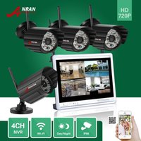 Wholesale Security Camera 48ir - ANRAN 4CH 720P 12 Inch LCD Screen Wireless NVR Surveillance CCTV 48IR Day Night 1.0MP WIFI IP Camera Home Network Security System