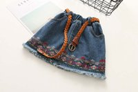 Wholesale Kid Pencil Skirts Dresses - Vintage embroidery Girls Skirts tassels Denim Children shorts Skirts kids Pencil Skirts belt Girls Dress Girl Clothes Toddler Clothes A940