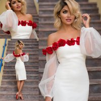 Wholesale Elastic Puffy Sleeves - Sexy White Short Cocktail Party Dresses 2017 Off Shoulder Puffy Long Sleeves 3D Rose Flowers Plus Size Knee Length Cheap Formal Party Gowns