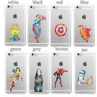 Wholesale Hulk Iphone Cases - Watercolor Superman American Captian hulk Transparent TPU Cover Case for iPhone 4 4s 5 5s 5c 6 6s Plus Samsung