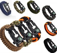 Wholesale Halloween Whistle - Outdoor Survival Bracelets 5 in 1 Gear Kits Escape Paracord Bracelet Flint Whistle Compass Scraper for Hiking Camping Fast ShippingD116