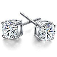 швейцарские алмазные шпильки оптовых-6 мм посеребренные Циркон серьги для женщин швейцарский Австрия Алмаз винтажный стиль серебряные серьги мода корейский ювелирные изделия для Laides