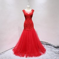 Wholesale Shirt Catch - Eye Catching Mermaid Wedding Dresses Red,White,Ivory Black Layers Tulle with Floral Lace Applique Zipper Back Bridal Gowns Sheer Neck