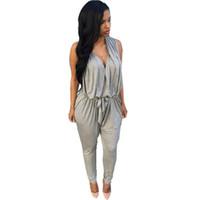 Wholesale Womens Wholesale Harem Pant - Wholesale- Rompers Womens Jumpsuit 2016Sexy Black Bodysuit Overalls Casual V-neck Playsuit Full Jumpsuit Long Harem Pants Combinaison Fem