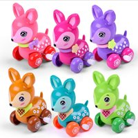 Wholesale zoo animal baby toys online - 5pcs Lovely wind up toy animal funny baby Zoo Baby deer design Running Clockwork Spring Toy newborn baby clockwork toy Color Random