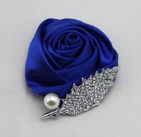 Wholesale making wedding decorations - Hot Sale Diamond Wedding Corsage Pearls Crystals Unisex Hand-Made Boutonniere Wedding Decorations