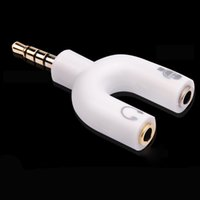 Divisor De Manera Audio Baratos-Forma de U 3.5mm Stereo Splitter auriculares de audio auriculares auriculares 2 Way Splitter adaptador de micrófono para iPod PC IPhone Mp3