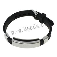 Wholesale Womens Stainless Steel Bangle - Wholesale- Free shipping Men Black Silicone Cuff Bangle Cool Punk Friendship Bracelet Stainless Steel Adjustable Wristband for Womens Man