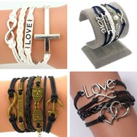 Wholesale Owl Friendship Bracelet - Wholesale-2016 New Arrival retro cross Infinity Love Leather Love Owl Anchor Charm Handmade Bracelet Bangles Jewelry Friendship Gift Items